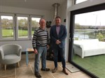 Dyfed Williams, senior installer, who retired after 32 years at Peninsula with Ken Grayson